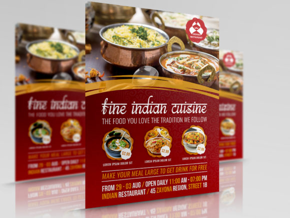 Print on Demand: Indian Restaurant Flyer Template Graphic Print Templates By OWPictures