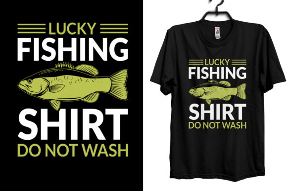 Lucky Fishing T-shirt Design Graphic Print Templates By Storm Brain