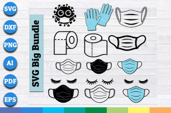 Mask, Toilet Paper,  Hand Gloves Bundle Graphic Crafts By AartStudioExpo