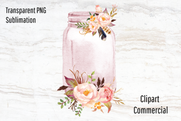 Print on Demand: Mason Jar Clipart, Watercolor Flowers Gráfico Ilustraciones Por Blueberry Jam Design
