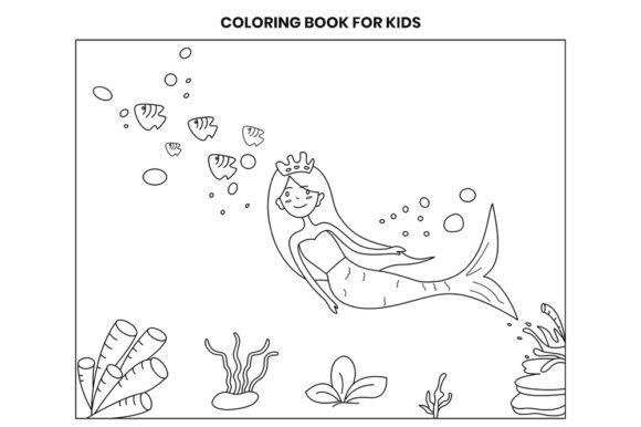 Print on Demand: Mermaid Coloring Page - Underwater Theme Graphic Coloring Pages & Books Kids By doridodesign