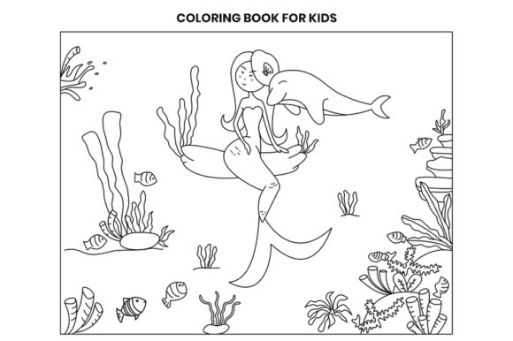 Print on Demand: Mermaid and Dolphin Coloring Page Graphic Coloring Pages & Books Kids By doridodesign