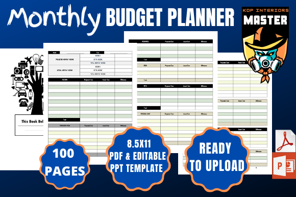 Print on Demand: Monthly Budget Planner Graphic KDP Interiors By KDP_Interiors_Master