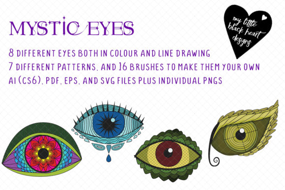 Download Free Mystic Eyes Graphic By My Little Black Heart Creative Fabrica for Cricut Explore, Silhouette and other cutting machines.