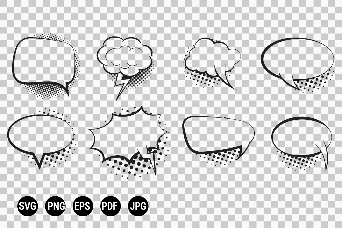 Download Free Set Of Retro Empty Comic Bubble Graphic By 99 Siam Vector for Cricut Explore, Silhouette and other cutting machines.