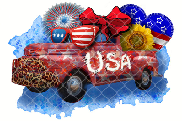Sublimation USA Crazy Truck Graphic Crafts By V-Design Creator