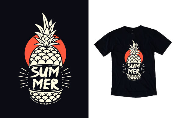 T-shirt Summer Pineapple Illustration Graphic Illustrations By yazriltri