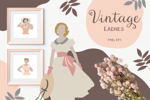 Vintage Woman Portraits Collection Graphic Illustrations By AuramarinaStudio