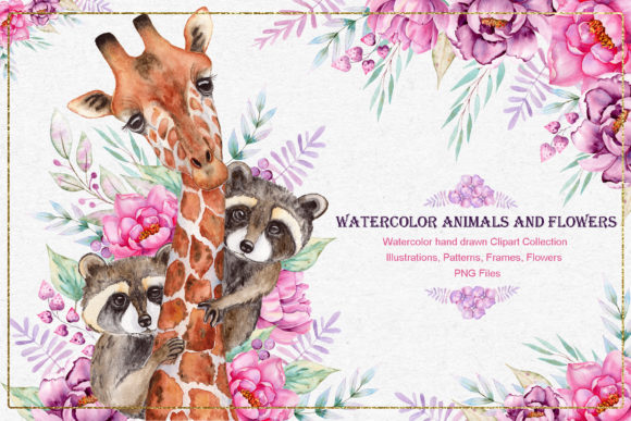 Print on Demand: Watercolor Animals and Flowers Grafik Illustrationen von tanatadesign