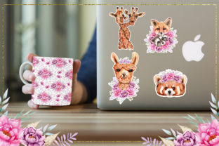 Print on Demand: Watercolor Animals and Flowers Graphic Illustrations By tanatadesign 11