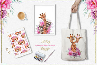 Print on Demand: Watercolor Animals and Flowers Graphic Illustrations By tanatadesign 12