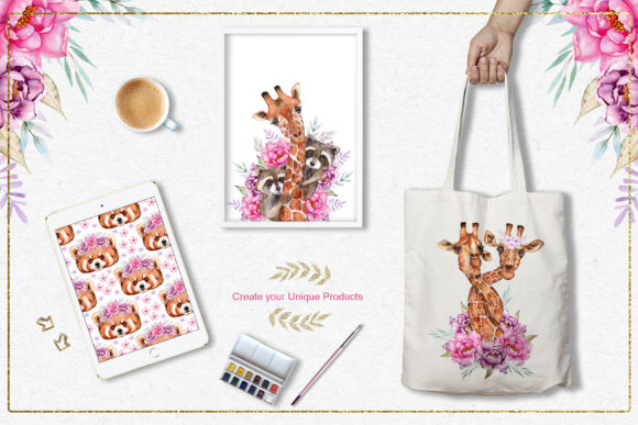 Print on Demand: Watercolor Animals and Flowers Graphic Illustrations By tanatadesign - Image 12