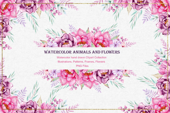 Print on Demand: Watercolor Animals and Flowers Graphic Illustrations By tanatadesign - Image 2