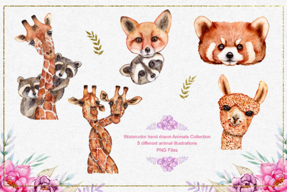 Print on Demand: Watercolor Animals and Flowers Graphic Illustrations By tanatadesign - Image 3