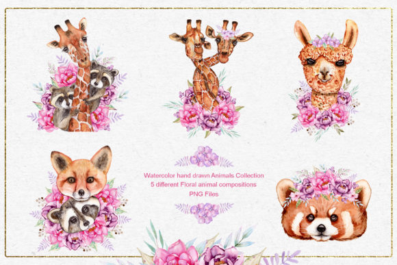 Print on Demand: Watercolor Animals and Flowers Graphic Illustrations By tanatadesign - Image 4