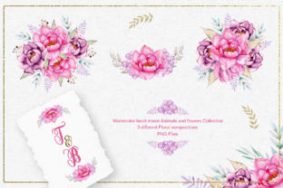Print on Demand: Watercolor Animals and Flowers Graphic Illustrations By tanatadesign 5