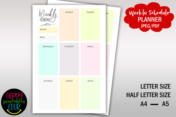 Print on Demand: Weekly Schedule Planner- Printable Graphic Print Templates By Happy Printables Club
