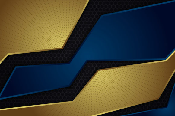 Print on Demand: Gold Blue Hexagon Background Graphic Backgrounds By noory.shopper