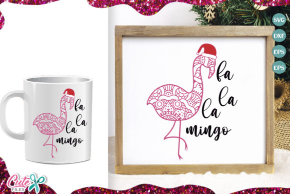 Zentangle Flamingle Christmas Graphic Illustrations By Cute files