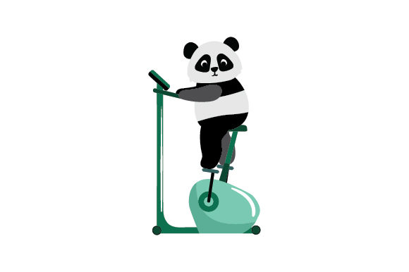 Panda Riding Stationary Bike Animals Craft Cut File By Creative Fabrica Crafts