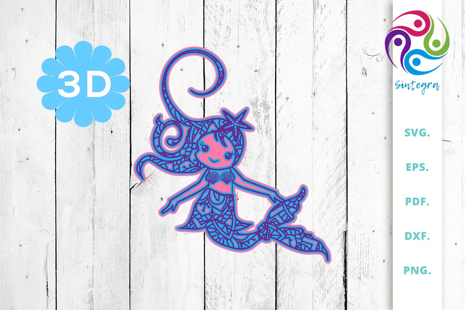 Download Free 3d Multilayer Mermaid Cut File 2 Graphic By Sintegra Creative for Cricut Explore, Silhouette and other cutting machines.