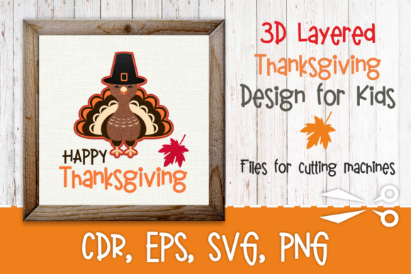 Print on Demand: 3D Layered Thanksgiving Design with Turkey Graphic 3D SVG By Olga Belova