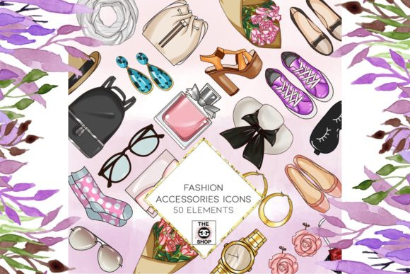 Print on Demand: 50 Fashion Icon Cliparts Graphic Illustrations By TheGGShop - Image 1