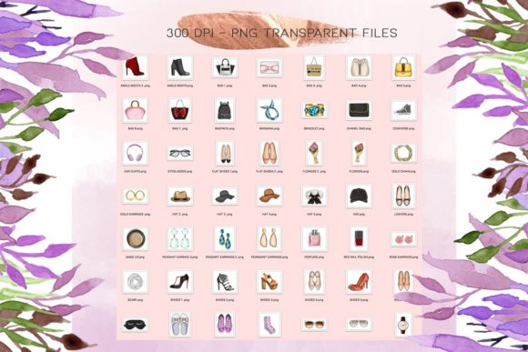 Print on Demand: 50 Fashion Icon Cliparts Graphic Illustrations By TheGGShop - Image 2