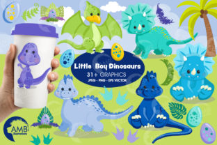 Baby Boy Dinosaurs Clipart 2797 Graphic Illustrations By AMBillustrations