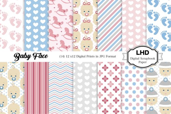 Baby Face Digital Paper Patterns Graphic Patterns By LeskaHamatyDesign