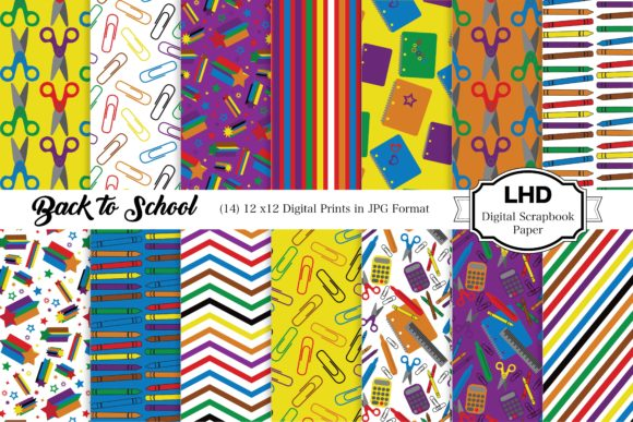 Back to School Digital Paper Patterns Graphic Patterns By LeskaHamatyDesign