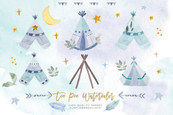 Print on Demand: Blue Watercolor Boho Teepee Clip Art Gráfico Ilustraciones Por SunflowerLove