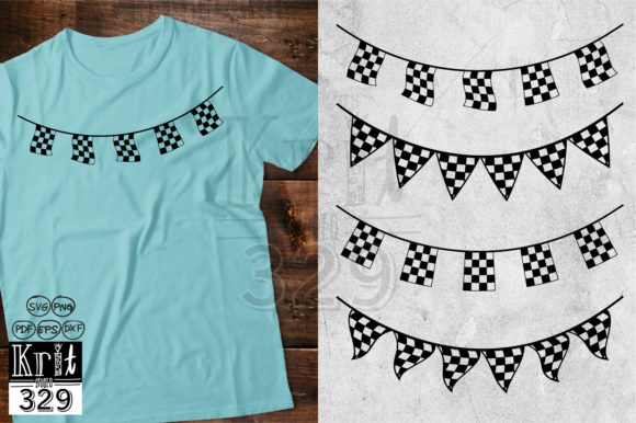 Bunting Flag Checkered Racing Graphic 3D Shapes By Krit-Studio329
