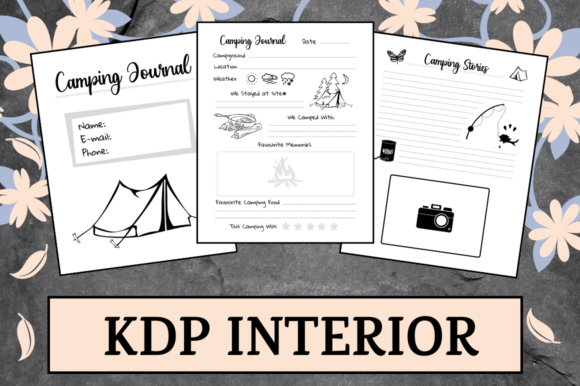 Print on Demand: Camping Journal | KDP Interior Graphic KDP Interiors By Hungry Puppy Studio