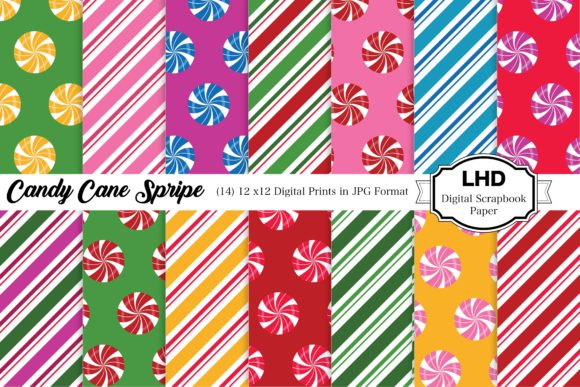 Candy Cane Stripe Holiday Patterns Graphic Patterns By LeskaHamatyDesign