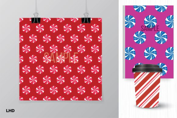 Candy Cane Stripe Holiday Patterns Graphic Download