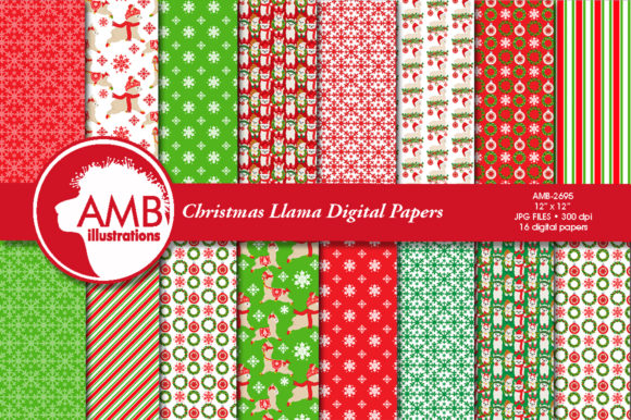 Christmas Llama Papers 2695 Graphic Patterns By AMBillustrations