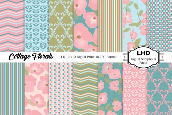 Cottage Floral Digital Paper Patterns Graphic Patterns By LeskaHamatyDesign