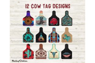 Print on Demand: Cow Tag Bundle, Cattle Ear Tag Graphic Objects By Mockup Station