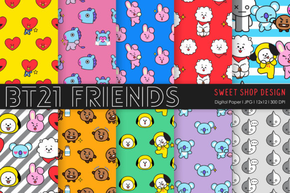 Digital Paper Friends Graphic Patterns By Sweet Shop Design
