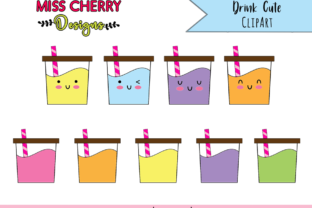 Drink Cute ClipArt Graphic Illustrations By Miss Cherry Designs