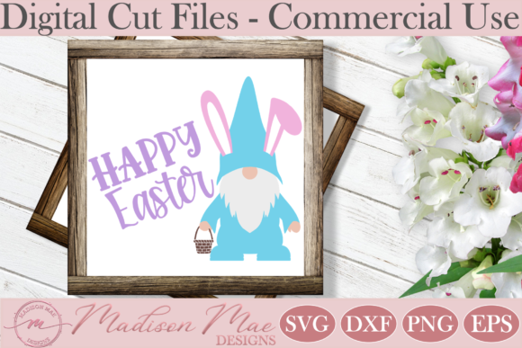 Easter Bunny Gnome with Basket  Graphic Crafts By Madison Mae Designs