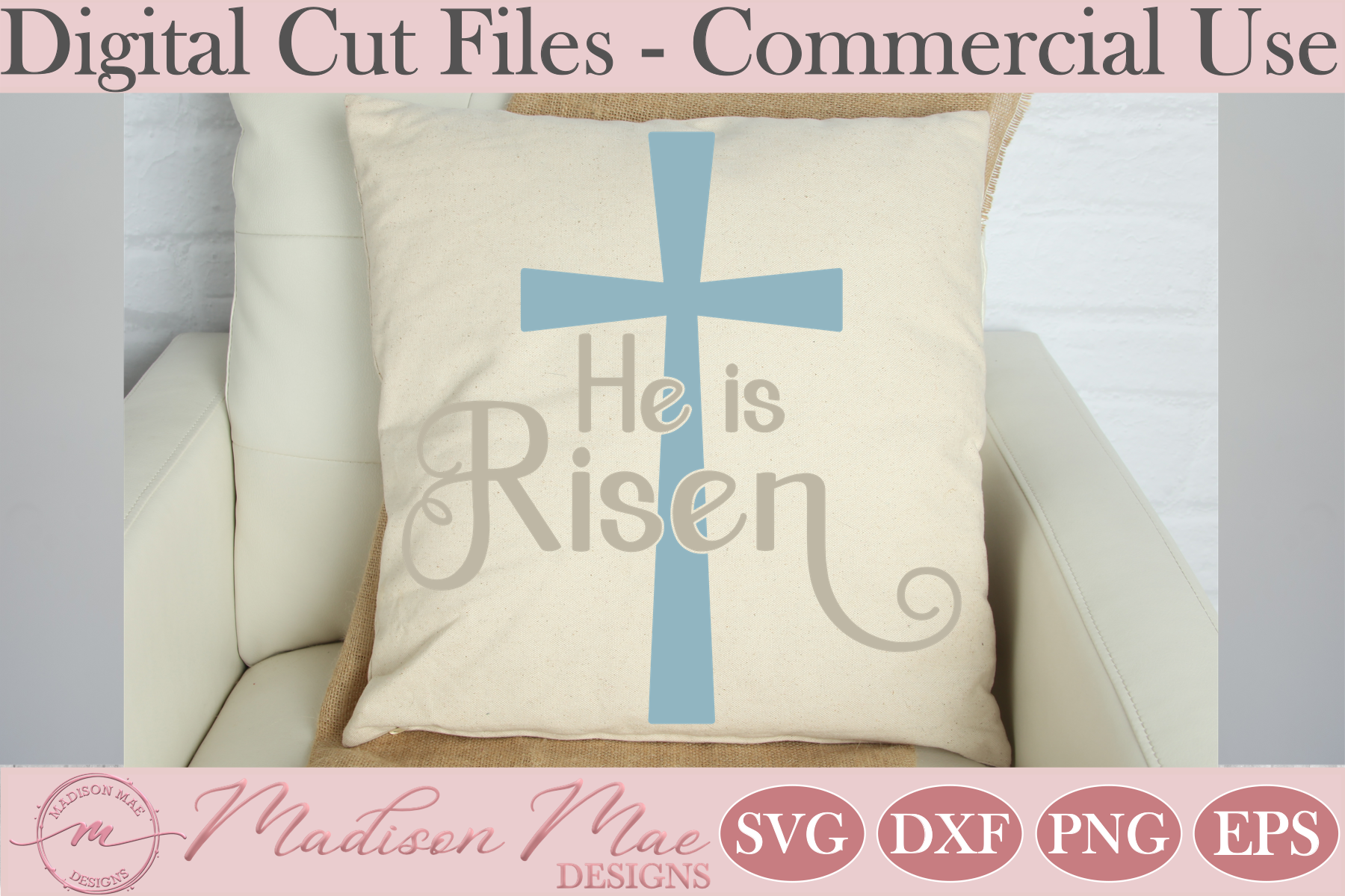 Download Free Easter Cross He Is Risen Graphic By Madison Mae Designs for Cricut Explore, Silhouette and other cutting machines.