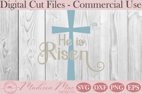 Download Free Easter Cross Svg He Is Risen Graphic By Madison Mae Designs Creative Fabrica for Cricut Explore, Silhouette and other cutting machines.