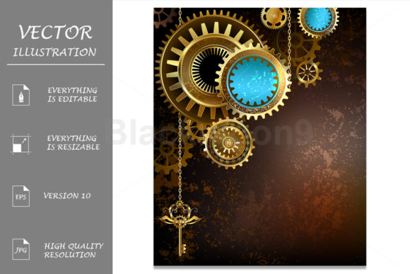 Gears on Rusty Background Graphic Illustrations By Blackmoon9