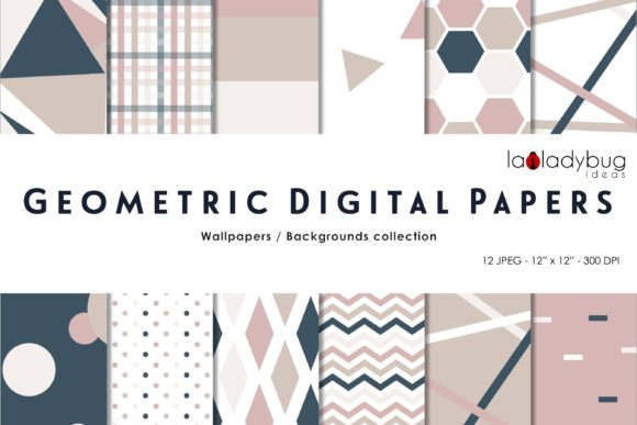 Geometric Digital Papers. Multicolor Graphic Patterns By LaLadybugIdeas