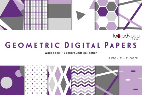 Geometric Digital Papers. Multicolor Graphic Patterns By Yolanda
