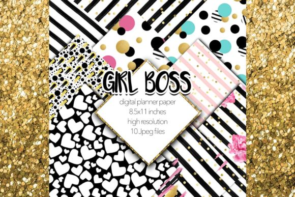 Print on Demand: Girl Boss Scrapbook Digital Paper Set Grafik Hintegründe von TheGGShop