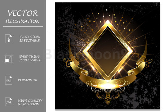 Gold Banner Rhombus Graphic Illustrations By Blackmoon9