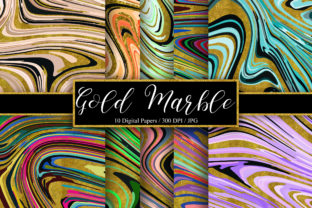 Print on Demand: Gold Marble Background Digital Papers Graphic Backgrounds By PinkPearly